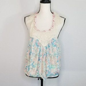 Free People lace floral ruffled halter tank top
